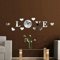 Wholesale Wall Clock Sticker Modern Design DIY Large quot Love quot Word Pattern Movement Home Decoration D Crystal Mirror Living Room Gift