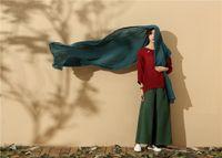 Wholesale Euramerican literary slub cotton linen long shawl scarf muffler neckerchief wraps turban wraps hood headscarf headband