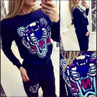 baseball style shirts for women - 2 Fashion Set Europe Style For Women and Big Girls Long Sleeve Casual Outfits Animal Print Top Shirts Pant Women Tracksuits
