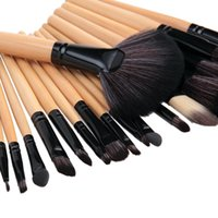 Wholesale 32 Hotsale Wool Makeup Brushes Tools Set with PU Leather Case Cosmetic Facial Make up Brush kit Black pink The original wood color