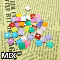 Wholesale 80pcs Mixed Candy Neon Colors mm Square Flat Back Glass Crystal Stone for Jewelry Making and DIY Glue Decoration