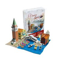 Wholesale Children Birthday Venice Town D Puzzles Gift DIY House Boat Puzzle Games Toy Metal Box Packing