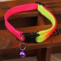 Wholesale 1PCS Rainbow Color Pet Collar with Bell cm Width Adjustable cm Length for Small Dogs
