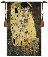 Wholesale The Kiss by Gustav Klimt Art Tapestry Wall Hanging Home Decor Gift Cotton Jacquard Woven x cm