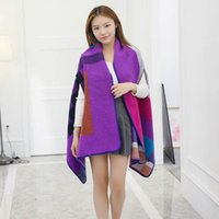 Wholesale Women s Winter Poncho Vintage Blanket Lady Knit Shawl Cape Cashmere Classic plaid style super thich warm scraf