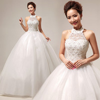 Wholesale Gorgeous A line Wedding Dresses Halter Crystal Backless Lace ball gown China Wedding Dresses Plus Size Cheap