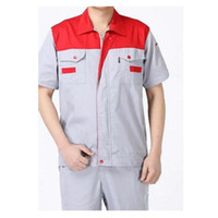 Wholesale Summer Work Uniform Clothes Short Sleeve Vehicle Repair Suit Unisex Superior Fabric Anti dust Five Size Red Shoulder and Grey Body