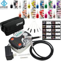 air compressor cleaning - Nail Tools Sets Kits OPHIR x Nail Inks mm Airbrush Kit with Air Compressor Nail Stencils Bag Cleaning Brush Set Nail