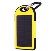 Wholesale 5000mAh Solar Charger and Battery Solar Panel portable power bank for Cell phone Laptop Camera MP4 With Flashlight waterproof shockproo E144