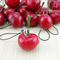 Wholesale Cherry Cell Phone Straps Kawaii Simulation Fruit Key Chain Charms