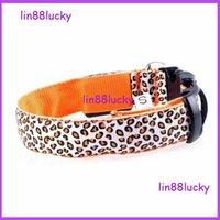 basic fashion design - Fashion Sexy Leopard printed design Colorful LED polyester Pet Dog Collar Safety LED Light up Flashing Glow necklace