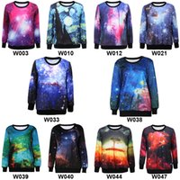 Wholesale 10 Designs Galaxy Crewneck Sweatshirts Fashion Ladies Multi Color Galaxy Printed Pullover Sweatshirt Crewneck Womens Printing Sweater