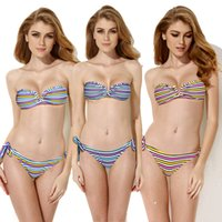 bandeau bikini top xs - Triangle Bikini Multi Stripe Tankini Bandeau Top Swimsuit with a Sexy Open V Wire at Center Front Bikini Swimwear