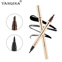 Wholesale DHL Free New YANQINA Long lasting Makeup waterproof Eyeliner Eyebrow pencil Precision Double End Liquid Eye liner