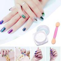 Wholesale 6 colors g Box Glitter Magic Mirror Chrome Effect Dust Shimmer Nail Art Powder DHL H017