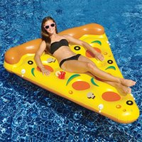 air agent - New style Water Toy Giant Yellow Inflatable Pizza Slice Floating Bed Raft Air Mattress CM Summer Holiday Swmming Ring DHL Freeship