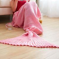 Wholesale Adult Handmade Mermaid Tail Blankets pink ladies women Mermaid Tail Sleeping Bag Cocoon Mattress Knit Sofa Blanket size cm