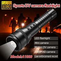 Wholesale HD1080P A1000 LED Flashlight Motion DV Camera Support TF Card with SOS emergency flashing New Arrival