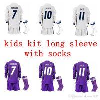 Wholesale 2016 Real madrid Kids Jerseys Youth Child kit RONALDO home white away Purple long Sets JAMES BALE RAMOS ISCO shirt