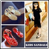 Wholesale Kids flat Sandals Girl Shoes Rivet Sandals Kid Princess Shoe Baby Sandal Childrens Shoes Kids Footwear Girls Sandals Red Black KW SH004