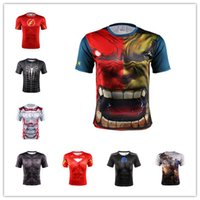active figure - Captain America T shirt with short sleeves tights male iron man avengers alliance superman t shirts sport fitness figure with short sle