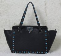 alligator s - high quality w332 s l genuine leather gem stud tote shopping bag black