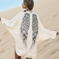 Wholesale Europe fashion d Eagles Wings printed long bat sleeve coat plus size spring summer women cardigan t shirt blouse cape poncho outerwear tops
