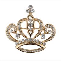 austrian crystal brooch - New Fashion Women s k Yellow Gold Filled Austrian Crystal Crown Brooch Pin Gift Jewelry mm