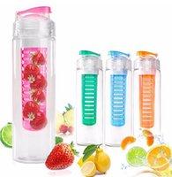 Wholesale Tritan Solid Fruit Infuser Water Bottle Flip Top Lid Tritan Cup oz ml Color