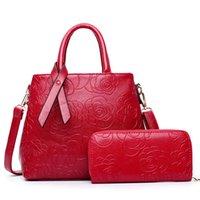 bag phone pictures - Picture two piece women bag European fashion Rose embossed PU zipper sandwich bag double women messenger bags