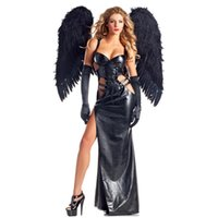 Wholesale High Quality New Gothic Dark Angel Fancy Dress Sleeveless Cut Out Black Fallen Angel Costume for Women Halloween Cosplay W548657