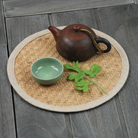 Wholesale Tea mats round exquisite rushes coasters creative disc pad insulation mat bowls mat table mat placemat pot NEW
