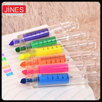 Wholesale High Quality Syringes Shape Colorful Pens Highlighter Pen Marker Pen Stationery Material Escolar