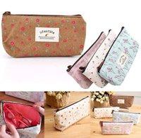 best case money - Best selling Flower Floral Pencil Pen Canvas Case Cosmetic Makeup Tool Bag money Storage Pouch Purse