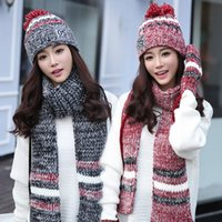 Wholesale Hat scarf gloves three suits one collar female winter girl hat thickening Christmas birthday gift