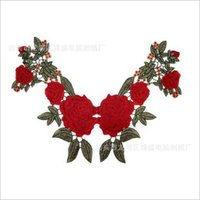 Wholesale Red Rose Embroidered Lace Polyester Black Khaki Flower Neckline Collar Applique Patch Scrapbooking Trimming Craft Sewing