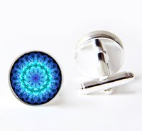Wholesale Emotion Chakra Mandala cuff links th chakra cufflinks handmade Mandala Glass Dome cufflinks