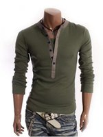 Wholesale 2016 male deep v neck the ring prong snap button decoration sanded slim camisa masculina long sleeve T shirt