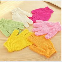 Wholesale Exfoliating Bath Glove Five fingers Bath Gloves Body Face bathroom accessories nylon bath gloves Bathing supplies bath products