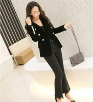 Wholesale 2016 New Spring Fashion Women Midnight Navy Slim Velvet Blazer Jacket Double Breasted Simple Lady Blazers High Grade OL Clothing