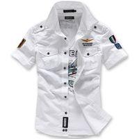 airforce high - Men Air Force Shirts Fashion Embroidery Airforce Uniform Military Uniform Short Sleeve Shirt Camisa Masculina High Quality
