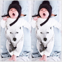 baby wolves - Retail New Autumn Baby White Wolf Printed Romper Infant Long Sleeve Jumpsuits Toddler Cotton Rompers Newborn One Piece Babies Onesies