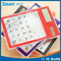 Wholesale Mini Transparent Calculator LCD Solar Touch Screen Office Counter Calculating Tool High Quality