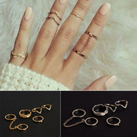 Wholesale 6pcs New Urban Rings Gold Crystal Above Knuckle stacking Band Midi Mid Ring Gift