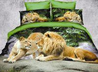 Wholesale Lion King Sheets Full - 3D coloured Oil painting tiger lion Wolf eagle Animal duvet cover set quilt cover flat sheet pillowcases 4 pcs bedding set