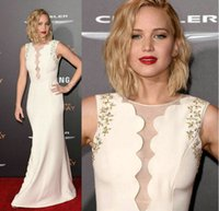 apple party games - Jennifer Lawrence Hunger Games Celebrity Dresses Gold Beaded Embroidery Sheer Crew Neck Sheath Satin Floor Length Party Evening Gowns