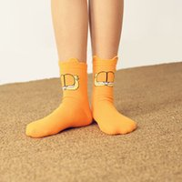 Wholesale The new jacquard stereo ear cat Garfield cartoon cotton women socks