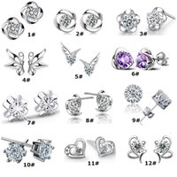 Wholesale 925 Sterling Silver Earrings Girl Hot Sale Crystal Forever Stud Earrings for Wedding Party Fashion Jewelry WH