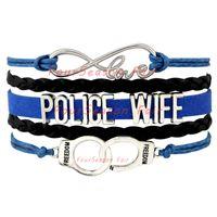 achat en gros de bracelet en cuir menotte-Custom-Infinity amour police épouse Wrap Bracelets Leo épouse cadeau pour la police Wifes bleu noir en cuir ajustable Bracelet Drop-Livraison