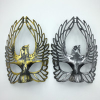 fly mask - New Design Fly Bird Mask Half Face Masquerade Party Mask Antique Gold Silver Cosplay warrior Mask
